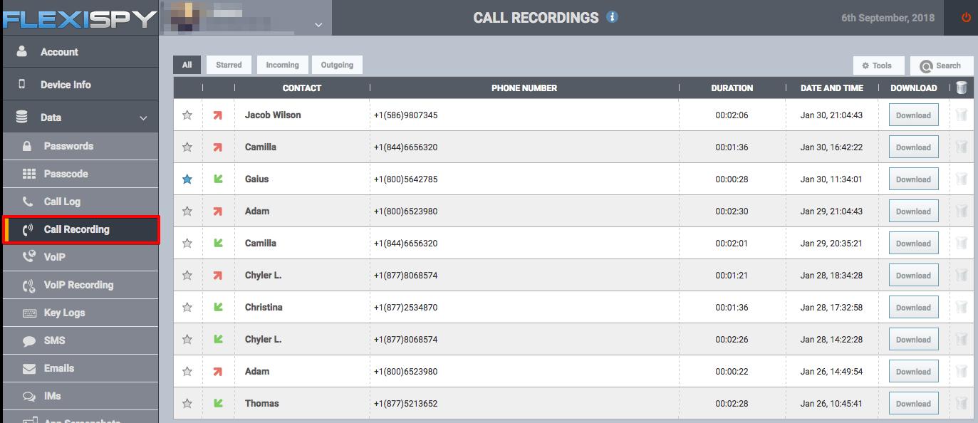 flexispy Telefonanrufe aufzeichnen